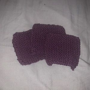 Mini knitted face clothes (3pk) in purple